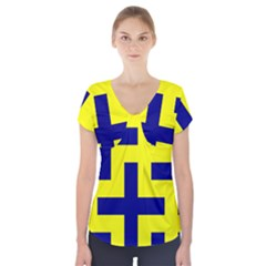 Pattern Blue Yellow Crosses Plus Style Bright Short Sleeve Front Detail Top by Nexatart