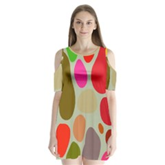Pattern Design Abstract Shapes Shoulder Cutout Velvet  One Piece by Nexatart