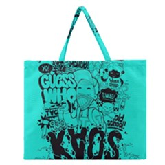Typography Illustration Chaos Zipper Large Tote Bag