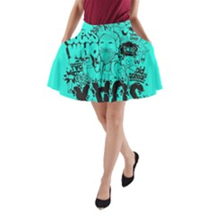 Typography Illustration Chaos A Line Pocket Skirt