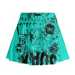 Typography Illustration Chaos Mini Flare Skirt