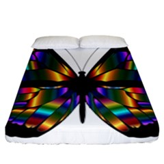 Abstract Animal Art Butterfly Fitted Sheet (king Size) by Nexatart