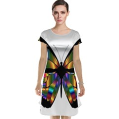 Abstract Animal Art Butterfly Cap Sleeve Nightdress