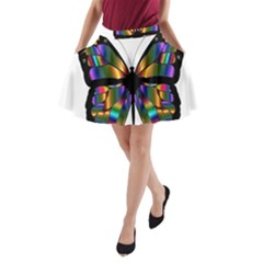 Abstract Animal Art Butterfly A Line Pocket Skirt