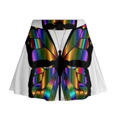 Abstract Animal Art Butterfly Mini Flare Skirt