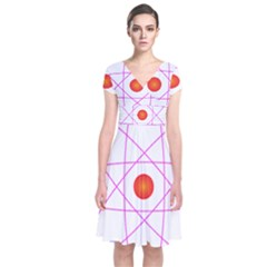 Atom Model Vector Clipart Short Sleeve Front Wrap Dress