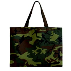 Camouflage Green Brown Black Zipper Mini Tote Bag