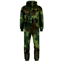 Camouflage Green Brown Black Hooded Jumpsuit (men)  by Nexatart