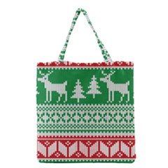 Christmas Jumper Pattern Grocery Tote Bag by Nexatart