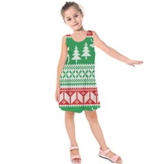 Christmas Jumper Pattern Kids  Sleeveless Dress by Nexatart