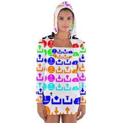Download Upload Web Icon Internet Women s Long Sleeve Hooded T Shirt