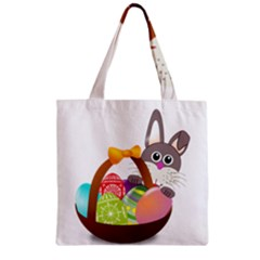 Easter Bunny Eggs Nest Basket Zipper Grocery Tote Bag by Nexatart