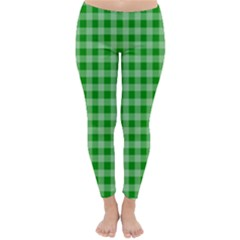 Gingham Background Fabric Texture Classic Winter Leggings by Nexatart