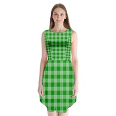 Gingham Background Fabric Texture Sleeveless Chiffon Dress