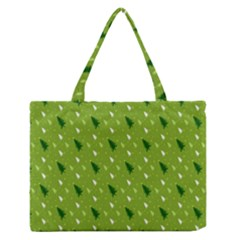 Green Christmas Tree Background Medium Zipper Tote Bag by Nexatart