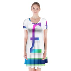 Icon Pound Money Currency Symbols Short Sleeve V Neck Flare Dress