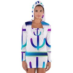Icon Anchor Containing Fixing Women s Long Sleeve Hooded T Shirt