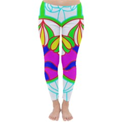 Pattern Template Stained Glass Classic Winter Leggings by Nexatart