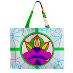 Pattern Template Stained Glass Zipper Mini Tote Bag by Nexatart
