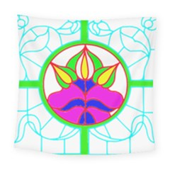 Pattern Template Stained Glass Square Tapestry (large) by Nexatart