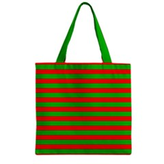 Pattern Lines Red Green Zipper Grocery Tote Bag