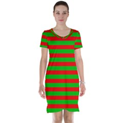 Pattern Lines Red Green Short Sleeve Nightdress