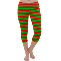 Pattern Lines Red Green Capri Yoga Leggings