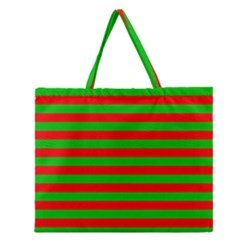 Pattern Lines Red Green Zipper Large Tote Bag