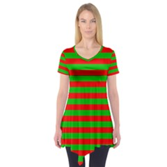 Pattern Lines Red Green Short Sleeve Tunic