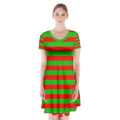 Pattern Lines Red Green Short Sleeve V Neck Flare Dress by Nexatart