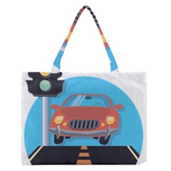 Semaphore Car Road City Traffic Medium Zipper Tote Bag