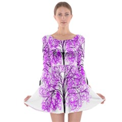 Purple Tree Long Sleeve Skater Dress by Nexatart