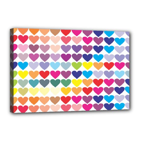 Heart Love Color Colorful Canvas 18  X 12  by Nexatart
