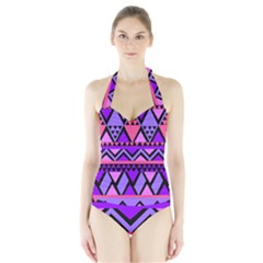 Seamless Purple Pink Pattern Halter Swimsuit
