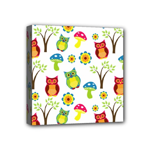 Cute Owl Wallpaper Pattern Mini Canvas 4  X 4  by Nexatart