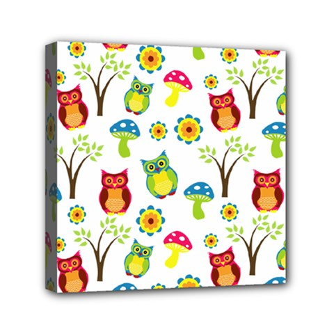 Cute Owl Wallpaper Pattern Mini Canvas 6  X 6  by Nexatart