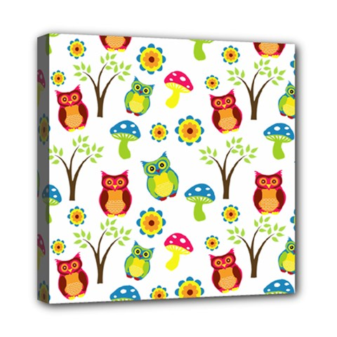 Cute Owl Wallpaper Pattern Mini Canvas 8  X 8  by Nexatart