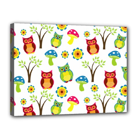 Cute Owl Wallpaper Pattern Canvas 16  X 12  by Nexatart
