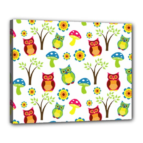 Cute Owl Wallpaper Pattern Canvas 20  X 16  by Nexatart