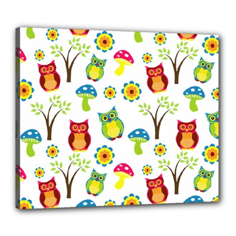 Cute Owl Wallpaper Pattern Canvas 24  X 20  by Nexatart