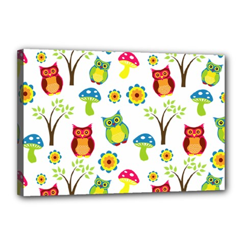 Cute Owl Wallpaper Pattern Canvas 18  X 12  by Nexatart