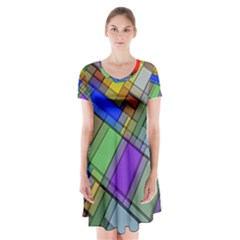 Abstract Background Pattern Short Sleeve V Neck Flare Dress by Nexatart