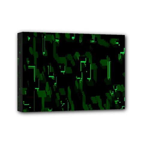 Abstract Art Background Green Mini Canvas 7  X 5