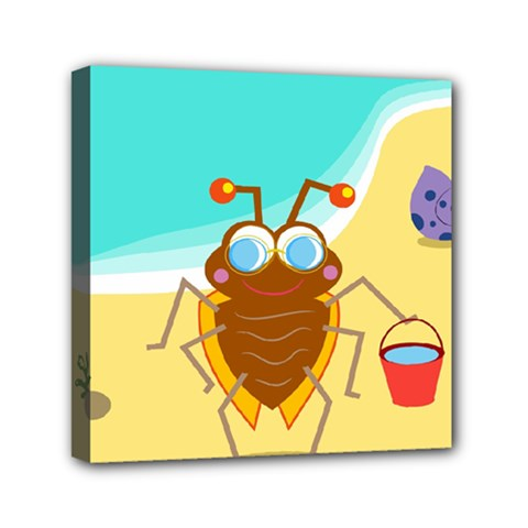 Animal Nature Cartoon Bug Insect Mini Canvas 6  X 6