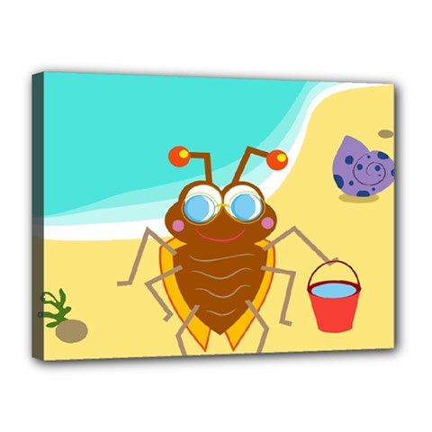 Animal Nature Cartoon Bug Insect Canvas 16  X 12