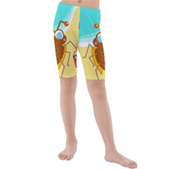 Animal Nature Cartoon Bug Insect Kids  Mid Length Swim Shorts