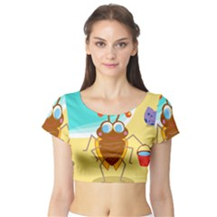 Animal Nature Cartoon Bug Insect Short Sleeve Crop Top (tight Fit)