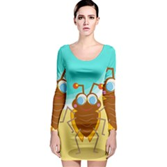Animal Nature Cartoon Bug Insect Long Sleeve Bodycon Dress