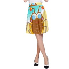 Animal Nature Cartoon Bug Insect A Line Skirt