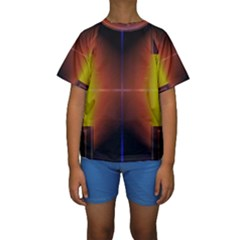 Abstract Painting Kids  Short Sleeve Swimwear